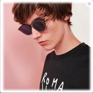 FENDI Men's logo blue round sunglasses